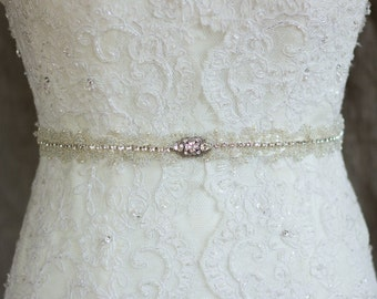 Wedding belt, Bridal belt, Vine, Wedding dress belt, Bridal sash, Crystal belt, Rhinestone belt, Beaded sash, IvoryThin