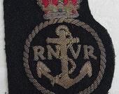 Antique - World War II - R N V R Badge - Royal Navy Volunteer Reserve - c1940s