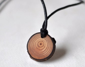 wooden jewelry • wood necklace •  larch wood pendant  •  wooden necklace