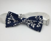 Floral Navy Blue Bow tie Cotton Bowtie Pre tied Men Women Boy Baby Children Bow tie Country Wedding Shabby chic Bow tie for Groom Groomsmen
