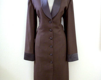 Vintage Gray and Taupe Long Coat Dress with Satin Lapels - 70s 80s Grey Tailored Suit Dress - Size Large estimated
