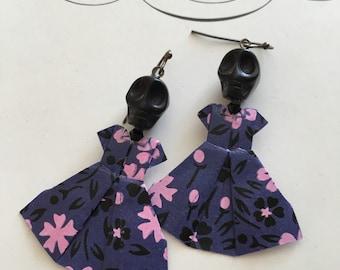 Origami Skull Dress Earrings - purple and black