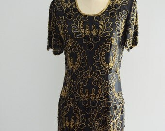 Cocktail Sequined Black and Gold Flower Boho Chic Beaded Gatsby Cocktail Dress