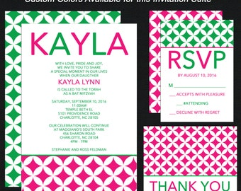 Bat Mitzvah Invitations - Hot Pink, White and Green - Custom Color, Pattern and Design - Add RSVP Card, Thank You Notes, Envelope Addressing