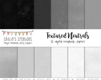 Textured Neutrals Digital Papers - 12 Papers - 12x12 -  Black, gray, white - Printable paper, digital scrapbook - INSTANT DOWNLOAD