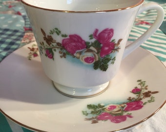 Vintage Dainty Pink and Blue  Floral 2 Piece Tea Cup Set Made in China #3544