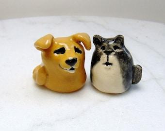 Cat and Dog Miniature Figurines - Terrarium Cat Figurines - Retriever Miniature  - Gray Tuxedo Cat -  Puppy and Kitten  - set of 2
