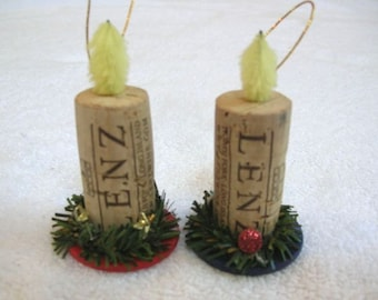 Wine Cork and Poker Chip Candle Christmas Ornaments - Set of Two