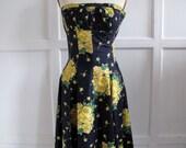 SALE 1950s 50s springtime floral prom dress