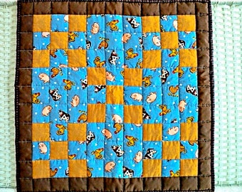 """Farmhouse Irish Chain Quilted Table Topper - Tablecloth, Dark Brown, Light Brown and Blue with Farm Animals - 20"""" square"""