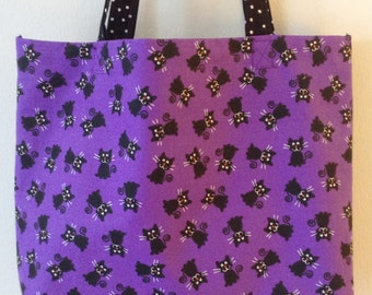 Trick or Treat Bag, Reusable Tote Bag, Black Cats on Purple, Tote Bag, Halloween Tote Bag, Candy Bag, Lunch Bag, Fully Lined Tote Bag