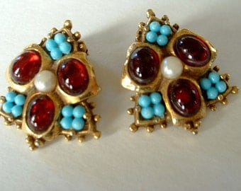 Vintage Red Glass Cabochon Turquoise Bead Golden Earrings Signed ART Clip On Mid Century