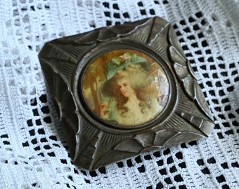 Marie Antoinette Large French Victorian Belt Buckle Antique France Celluloid