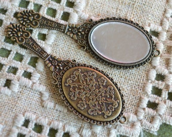 Metal Hand Mirror 70x26mm Charm Jewelry Components Antiqued Brass Pewter