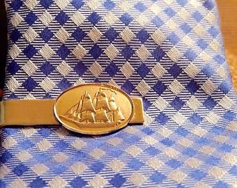 Sailing Ship Tie Clasp, Vintage Tie Clasp, Gift for Him