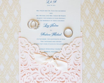 Wedding Invitation, Laser Cut Wedding Invitation, Laser Cut Wedding Invite, Vintage Wedding Invitation, POCKET -Coral BLUSH w/Ribbon KNOT