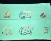 Turquoise Airstream Hand Embroidered Tea Towels, Set of Two