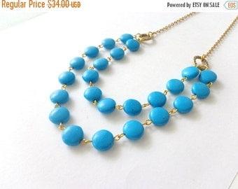 Blue gems necklace double strand
