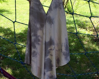 Hand dyed raw silk hanky hemmed top