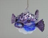 Purple and Blue Handblown Puffer Fish