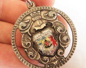 Antique Cape Town Fob... EPNS and Enamel Shield