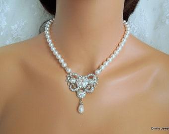 ivory swarovski pearl and crystal necklace Statement Bridal necklace Wedding Rhinestone necklace swarovski crystal and pearl necklace VIOLA