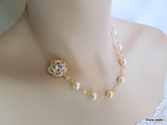 Pearl Rhinestone Necklace,Gold Rhinestone Necklace,Bridal Rhinestone Necklace,Ivory or White Pearls,Rose,Bridal Pearl Necklace,Rose,ROSELANI