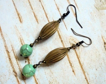 Mint Green and Brass Earrings (2825)
