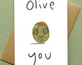 Valentines Love Card 'Olive You' Blank