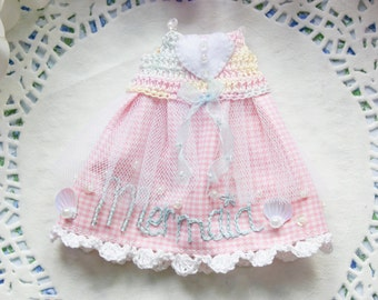 Mermaid Pastel Pale Pink Blue Gingham Summer Lolita Seashell Beads Embroidery Crystal Dress - [ Blythe / Pullip / Licca / Pure Neemo ]
