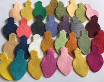 Wool Felt Holiday Lights 30 total - Random Colors. 3216