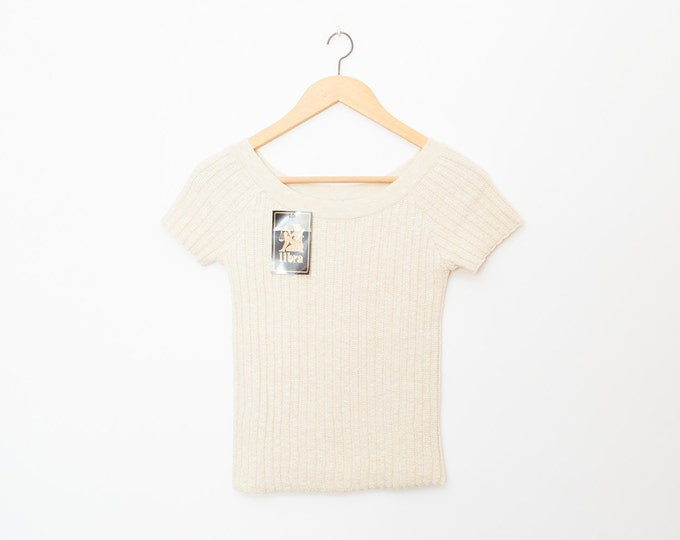 NOS vintage 90s knit sweater ribbed beige
