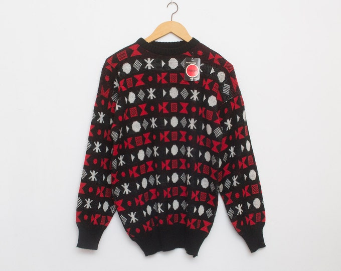 sweater 90s NOS vintage black red