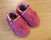 Custom Order for Lori: toddler sized red fringe moccasins