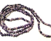 """Purple Lace Agate Seed Beads 4mm Round 1 Full 34"""" Strand Over 200 Unique Beads"""