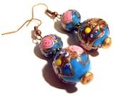 Handcrafted Jewelry Blue Lampwork Murano Glass Bead Wire Wrapped Dangle Drop Earrings