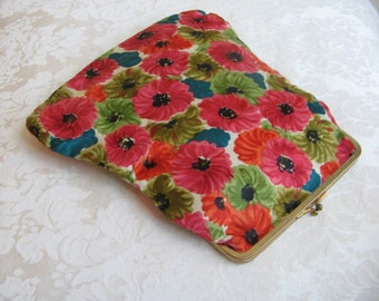 Vintage Silk Clutch Purse Bright Flowers Floral Fabric, Gold Metal Kisslock Frame, Chain Strap Adaptable