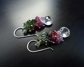 Tourmaline Earrings, October Birthstone, Watermelon Tourmaline, Dangle Earrings, Gemstone Jewelry, Sterling Silver