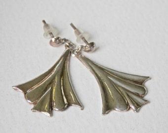 Vintage Silver Earrings, Fan Earrings, Art Deco Style, Drop Dangle Earrings, Sterling Silver
