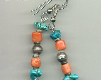 Sterling Navajo Bench Bead  Sleeping Beauty Turquoise & Coral  Earrings,ER175.ER192. ER292