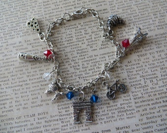 France Themed Silver Charm and Crystal Bracelet