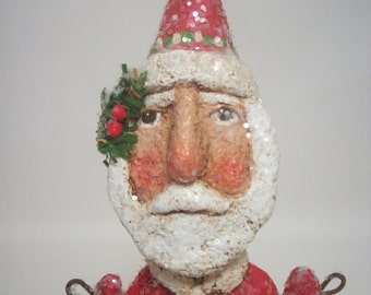 Red Santa Paper Mache Folk Art Primitive