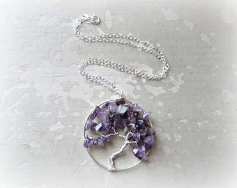 Tree Necklace, Tree Pendant, Wire Wrapped Necklace, Sterling Necklace, Amethyst Necklace, February Birthstone, Stone Tree Neckace