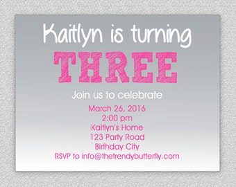 Grey and Pink Birthday Invitation , 1st Birthday Invitation , 4th Birthday , 3rd Birthday, 2nd Birthday , Children's Invitation , Ombre