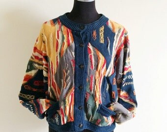 90s COOGI Cardigan- Womens Grunge M, Cosby Sweater, Hippie Oversized Earth Tone Burnout sweater, Abstract cropped