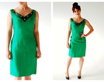1950s Bombshell Green Couture Dress- Daymor Couture, 28 Waist, BOMBSHELL Hourglass, Raw Silk, Pinup Curvy Black Beaded Rhinestone Neckline