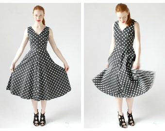 Retro Polka Dot Dress- XS, 80s does 50s, Circle Skirt Pinup Summer Black and White 26 waist