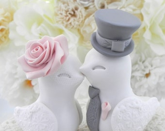 Love Birds Wedding Cake Topper, White, Vintage Pink and Grey, Bride and Groom Keepsake, Fully Customizable