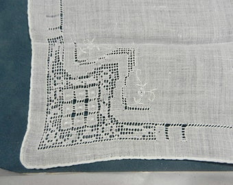 White Handkerchief with Drawn Work and Rolled Hem