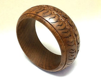 Wood Carved Bangle Huge Large Bold Wooden Bracelet Ethnic Handmade Jewelry Nice